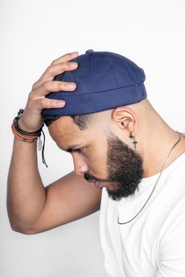 navy blue brimless cap